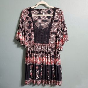 Free People Black Red Floral Boho Bell Lace Dress